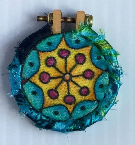 Silky Blue Mandal Hand Embroidered Mini Hoop Art Pendant