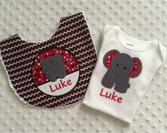 Baby Boy 2 PC Gift Set, Appliqued Elephant Bib and Bodysuit,