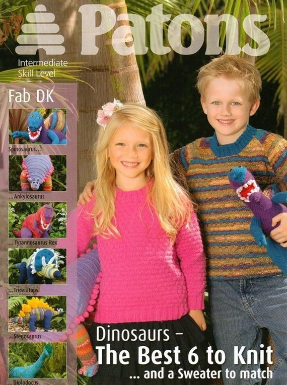 Knitting Pattern Jumper With Dinosaur : DINOSAURS and Sweater Original Toy Knitting Pattern BOOKLET - ORIGiNAL KNITTi...