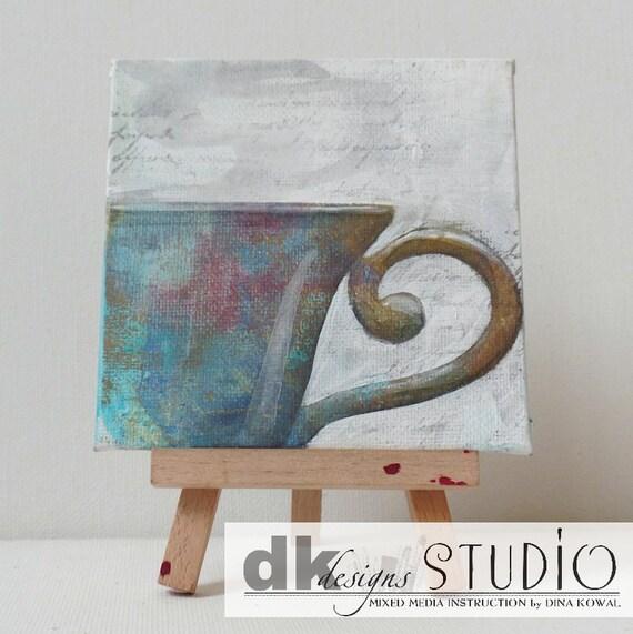 """SALE! Teacup #4 - original 4"""" canvas panel"""