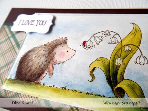 handmade greeting cards - Hedgehog - Ladybug Love