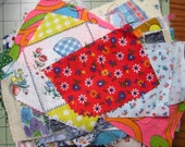 Vintage Fabric Scraps 5 ozs ~ Mixed Lot of Assorted Types of Fabrics Set 3