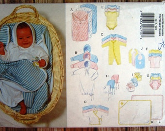 Vintage 1990s Easy to Sew Infants Layette: Bunting, Gown, Jumpsuit, Kimono, Romper, Diaper Cover, Booties Butterick Pattern 3812 UNCUT