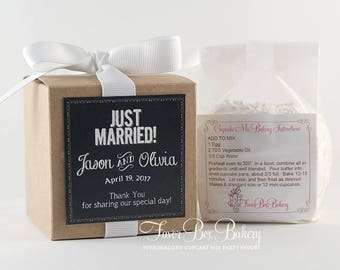 JUST MARRIED...One Dozen Personalized Cupcake Mix Party Favors for Showers, Engagement Parties, Couple Showers, and Weddings
