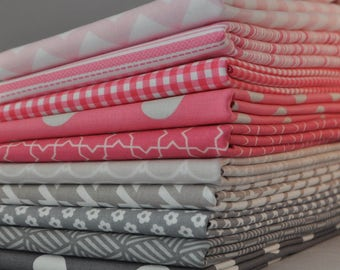 Designer Pink/Gray Fat Quarter Bundle,  10 pieces, 2 1/2 yards total