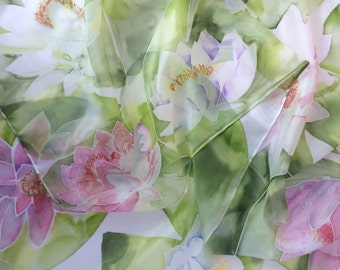 Waterlilies Hand Painted Silk Scarf. Pink and White Waterlily silk scarf .