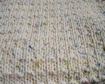 One Hand Knit Washable Merino Wool Baby Blanket Afghan//Throw