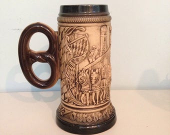 OKTOBERFEST! Pretzel-Handled Large German Beer Stein with Brewery Scene, Horses and Wagon, Musician, Banners! FABULOUS!