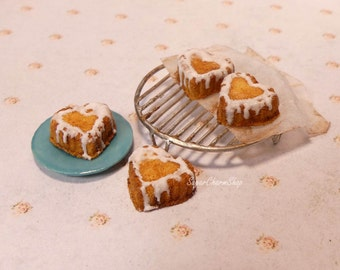 1:12th scale heart shaped bundt cakes