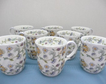 Set of 8, Minton Haddon Hall Blue, Fluted Bone China Coffee Mugs, Made in England