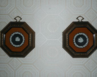 Framed Pair of Black Wedgewood Jasperware Plates in Gilted Octagonal Shadowbox Frames, Made in England