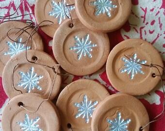 Terra Cotta Snowflake Ornament