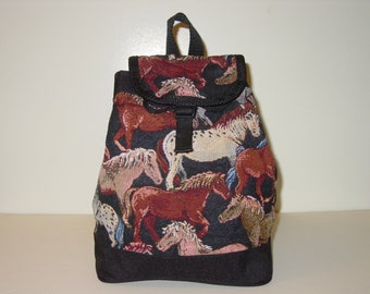 Horse Tapestry Backpack Purse,Equestrian Handbags,Horse Backpack
