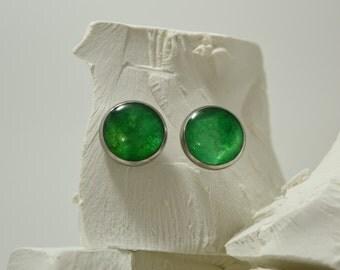 Sunlight Green, Baby Moon Paper Opal Stainless Steel Stud Earrings