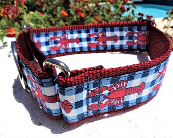 "Large Dog Collar, 1.5"" Red Lobsters Gingham, Martingale collar or Quick Release buckle style - detailed info within - no 1"" width"