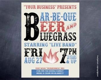 Barbeque Beer Bluegrass Party Flyer Digital Printable