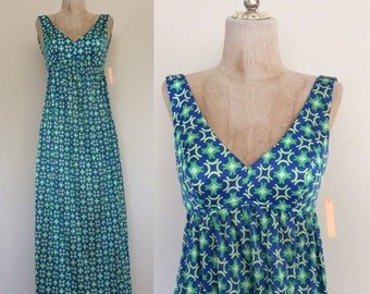 30% OFF 1970's Deadstock Vibrant a Blue & Green Printed Psychedelic Maxi Dress Sz XS by Maeberry Vintage