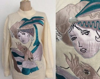 30% OFF 1980's Fortune Teller Appliqué Cream Pullover Cashmere Sweater Size Large XL by Maeberry Vintage