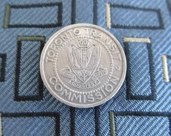 TORONTO Tie Tack - Vintage Toronto Transit Commission Token Coin, Silver Tone