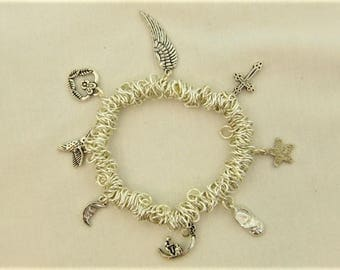 Silver Plated Sweetie Charm Bracelet with 8 Silver Plated Charms