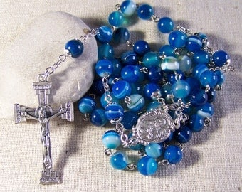 Blue agate 5 decade rosary by Leaping With Faith
