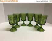 ON SALE Vintage Green  Anchor Hocking Goblets Water Goblet Wine Goblet Set of 6 Goblets Fairfield Pattern Olive Green Goblets 4 ounces