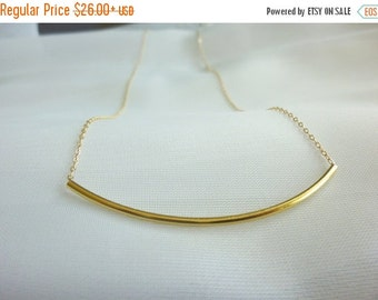 Gold Tube Necklace-Curved Bar Necklace-Tube Necklace-Long Tube Necklace-Gold Thin Tube Necklace-Silver Tube Necklace-long bar necklace