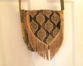 Boho Gypsy Tapestry Fringe Cross Body Messenger Bag