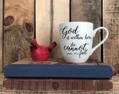 "Hand Painted Coffee Cup - Bible Verse ""God Is Within Her"" Quote Coffee Cup Mug : FREE SHIPPING"