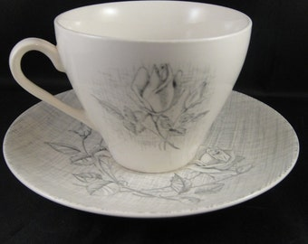 J & G Meakin Cup and Saucer Sol Pattern Gray and White Roses and Line Pattern Made in England