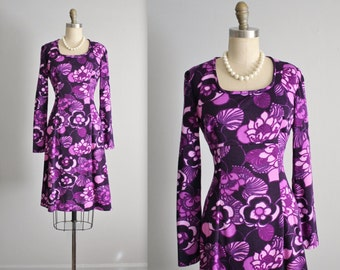 70's Floral Dress // Vintage 1970's Vibrant Purple Floral  Mod Casual Empire Day Dress M