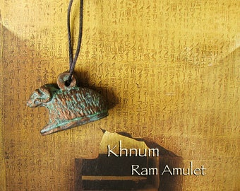 Khnum Amulet - Reclined Ram Form - Ancient Egyptian God of Creation and Fertility - Water Deity - Handcrafted with Aged Bronze Patina