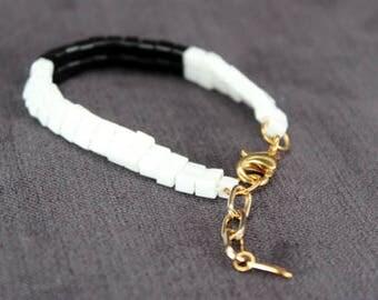 Beaded Friendship Bracelet in Black & White - In Stock!