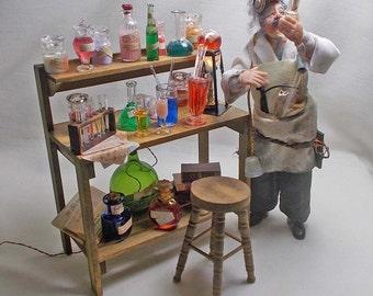 Dolls House Miniature Dr. Jekyll or Sherlock Holmes / Chemist Laboratory Work Table