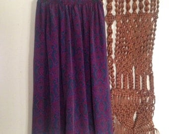 Purple Paisley Flowing Tea Length Skirt Size M-L