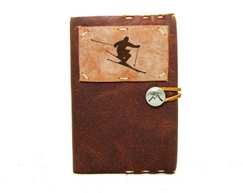 Small Leather Journal with Skier in Merlot Saddle