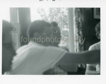 Vintage Photo, Men Around Table, Blurry Photo, Black & White Photo, Found Photo, Snapshot, Family photo, Vernacular Photo  Turin721.jpg