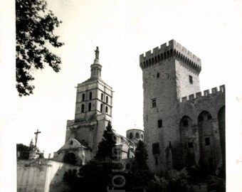 Ancient Church and Castle, Vintage Photo, Medieval, Black & White Photo, Family Photo, Found Photo, Vernacular Photo, Snapshot AUGUSTINE0551