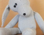 teddy bunny rabbit, hand knitted rabbit, grey, cashmere, merino, cotton