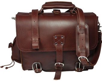 Made in USA Leather Briefcase Messenger Bag Backpack MEDIUM - Burgundy Distressed, Rugged