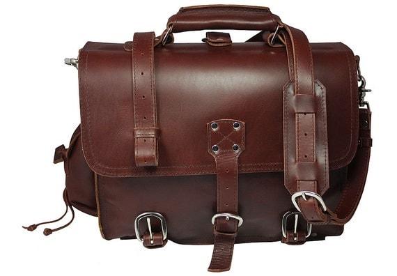 Made In Usa Leather Briefcase Messenger Bag Backpack Medium
