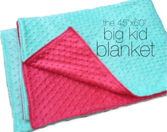 "BIG MINKY BLANKET- 45""x60"" Minky Double-Sided Blanket- Big Kid Blanket- Toddler Bedding- Minky Blanket- Toddler Comforter- You Choose Colors"