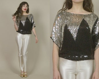 Sequin Top 70s Disco Black Silver Zig Zag Slouchy Blouse Harlequin 1970s Glam Rock N Roll Silk Top NYE / S M Small Medium