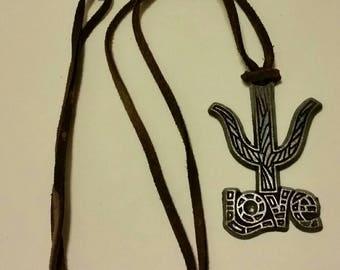 CHRISTMAS in JULY sale - LOVE pendant necklace,  Terra Sancta Guild Israel, 1967 hippie jewelry