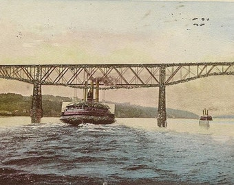 Passing Poughkeepsie Bridge Hudson River Antique Tinsel Postcard 1905 UDB