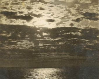 RPPC Sunset on the Pacific Vintage Postcard Serene Black and White Photo of Sunset over the Ocean 1923
