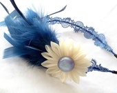Theatrical Blue Feathers and Lace Headband with Cream Chiffon Kanzashi Flower