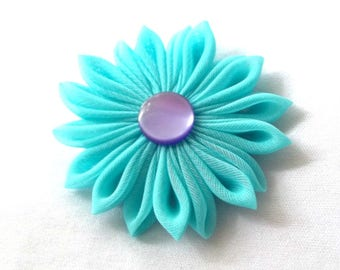 Aqua and Purple Hair Flower Tsumami Kanzashi Barrette Wearable Fiber Art Kawaii