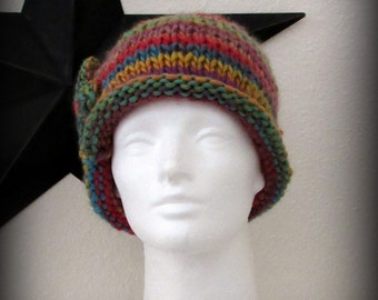 knit hat - knit cap - hand knit hat - multi colored knit hat - knit beanie - Merino wool knit hat - Merino wool hat - colorful hand knit hat