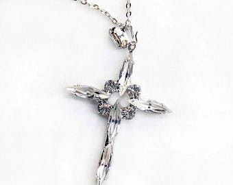 Newer Vintage Crystal Clear Navette Rhinestone Cross Pendant Necklace